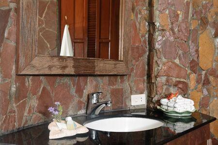 Thai style bathroom with stone walls Stock Photo - 6423306