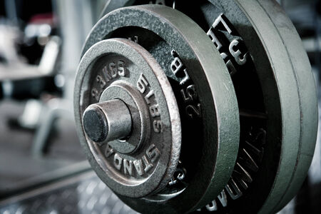 heavy weight: Bench press, with weights Stock Photo