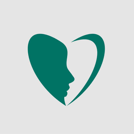 A beautiful face of a woman in a symbol of love. this indicates that women are full of love and affection. This logo is suitable for your project spa or medical. Ilustração
