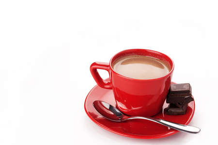 hot chocolate drink: Hot chocolate drink in a red cup Stock Photo