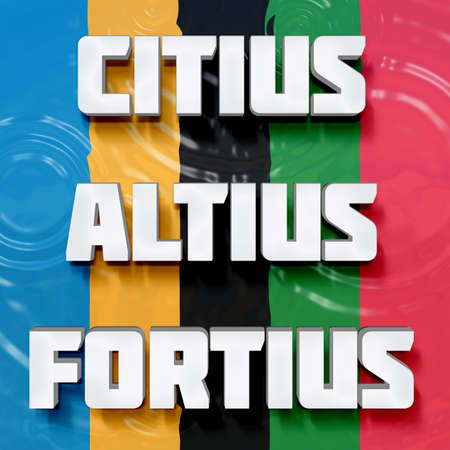 faster: Motivational Latin words Citius, Altius, Fortius on a color background Translation: Faster, Higher, Stronger