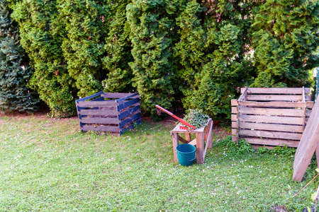 Compost cutter and composting frames in a backyard