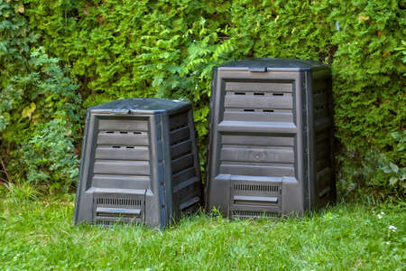 Compost silos in the backyard. Two different sizes Stockfoto
