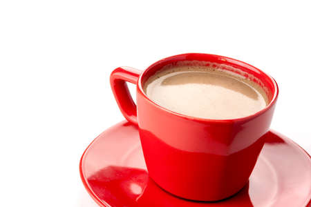 Hot chocolate in a red cup with saucer Stockfoto