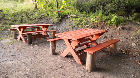 wooden bench and table in the forest
