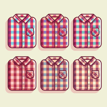 Flannel Shirt Pattern Vector Illustration, Flannel Shirt Flat vector, flannel shirt texture color, man fashion, woman fashion Standard-Bild - 115909637