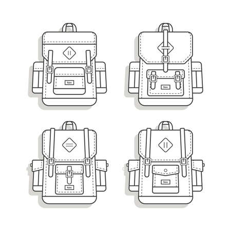 Vintage Retro Backpack icon vector, travelling backpack icon vector, backpack icon Çizim