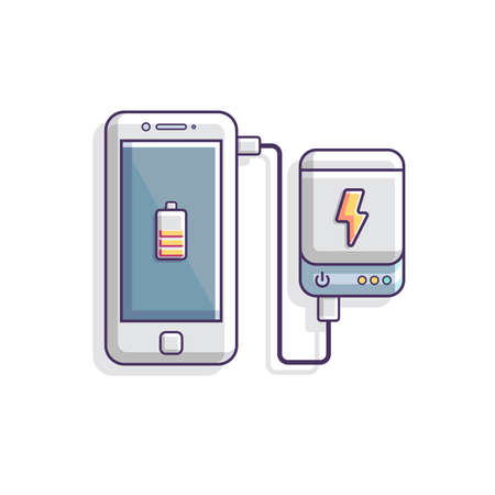 Smartphone is charging with power bank vector illustration, battery flat vector, mobile charging by power bank 일러스트
