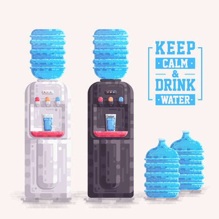 Office Water Cooler Dispenser With Plastic Container Bottle Gallon Vector, Water Cooler Illustration flat, Plastic Bottle
