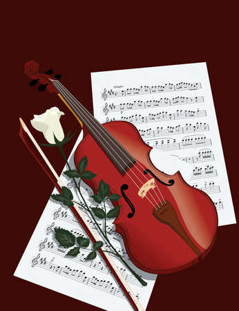 Violin, musical notes and a white rose  Vector