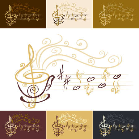 music notation: musical coffee cup with color variations