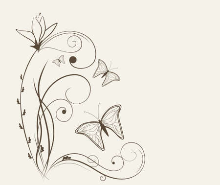 curled corner: floral background with butterflies
