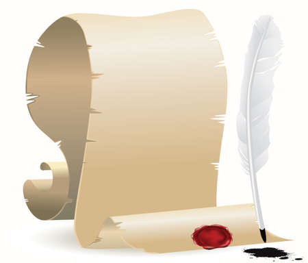 papiro: carta ingiallita con guarnizione e quill Vettoriali