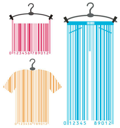 clothes-hanger and barcode Vector