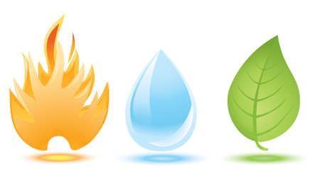 blue flames: fire, water drop and green leaf