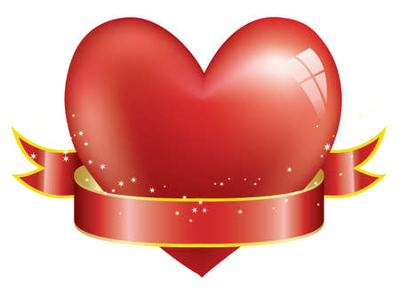 gold heart: red heart and ribbon