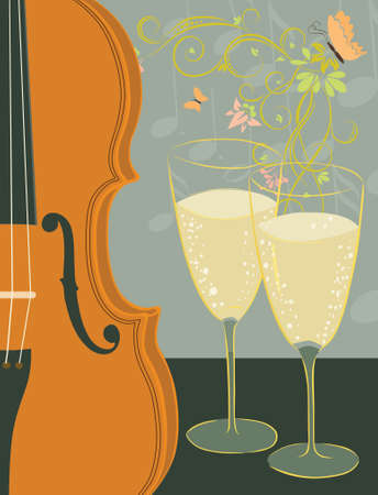 violin and champagne Vector