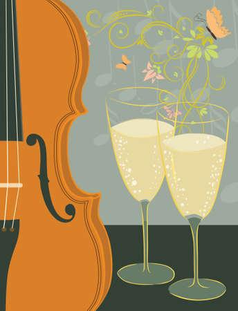 violin and champagne