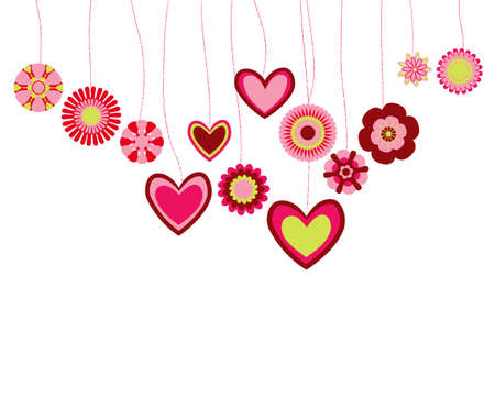 cute border: astratto di fiori e cuori Vettoriali