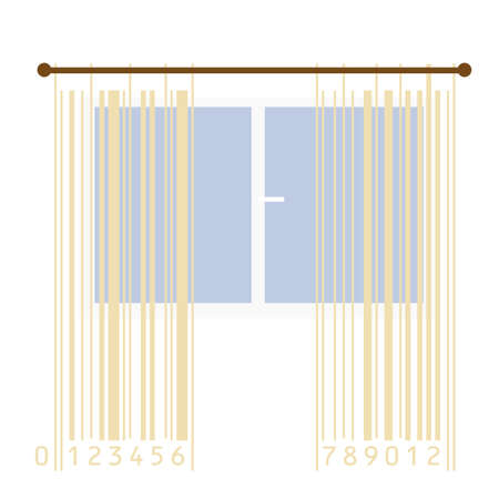 curtains stylized with bar-code stripes Stock Vector - 9837723