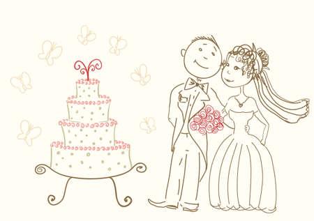 bruidstaart en de gelukkige bruid en bruidegom