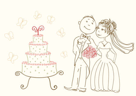 wedding cake and happy bride and groom Vector