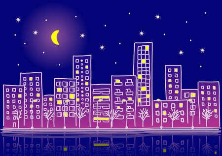capital cities: cartoon urban night Illustration
