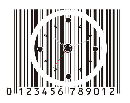 office clock in barcode  Vector