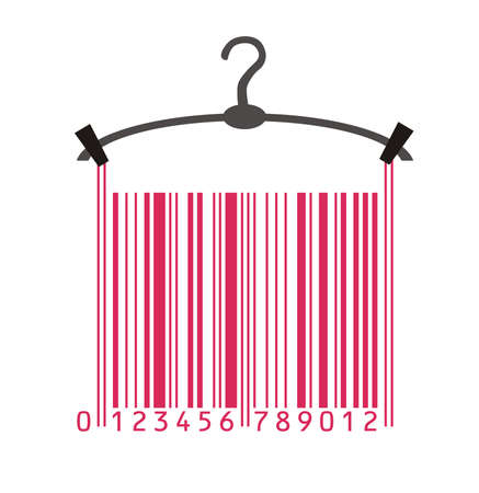 clothing shop: clothes hanger and barcode