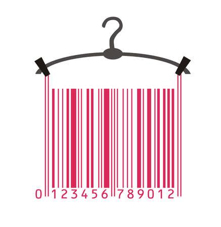 codigos de barra: colgador de ropa y c�digo de barras Vectores