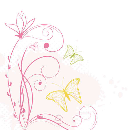 floral background with butterflies Stock Vector - 9866785