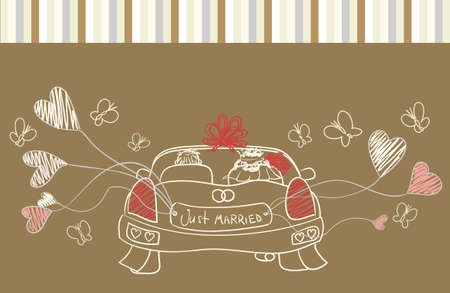 wed: greeting with wedding car