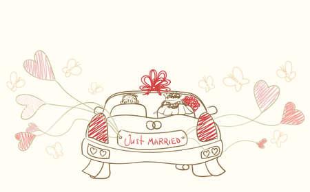 greeting with wedding car