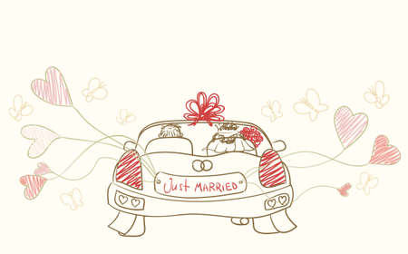greeting with wedding car  Vector