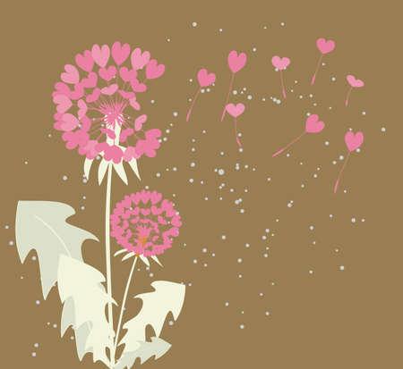 dandelions with seeds of love Vector
