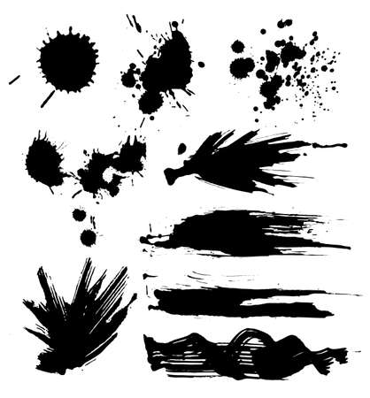 spatter: set of ink blots Illustration