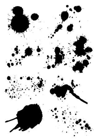 blood splatter: set of ink blots Illustration