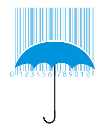 umbrella and rainy bar-code Illustration