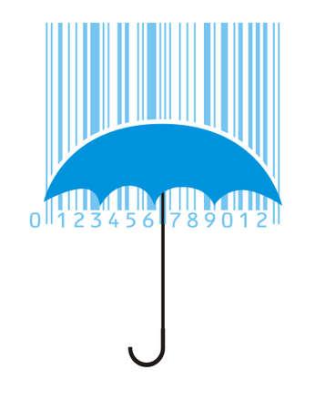 umbrella and rainy bar-code Illustration