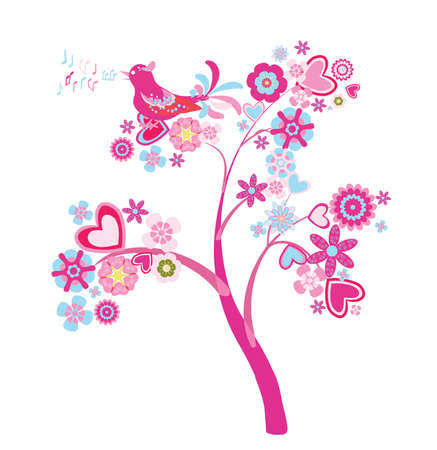 abstract tree with flowers and hearts