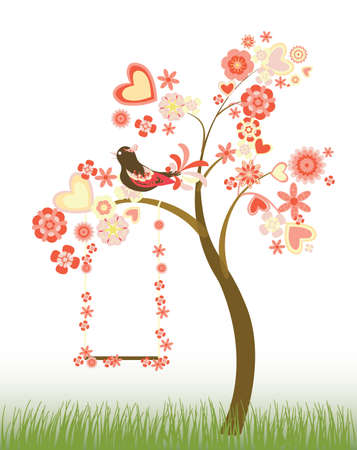 tree with hearts and flowers with a swing