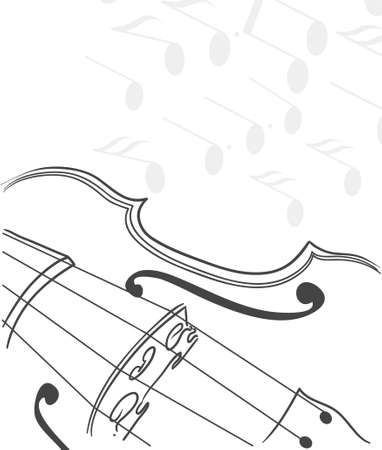 violin with notes Illustration