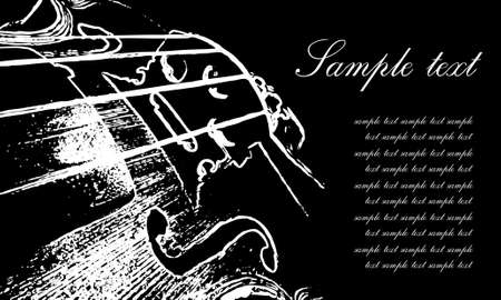 artistry: violin with notes Illustration