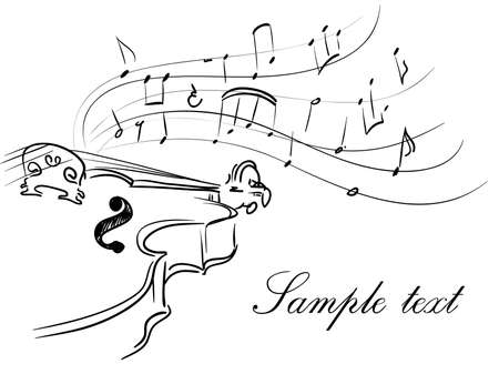 swirly: violin with notes Illustration