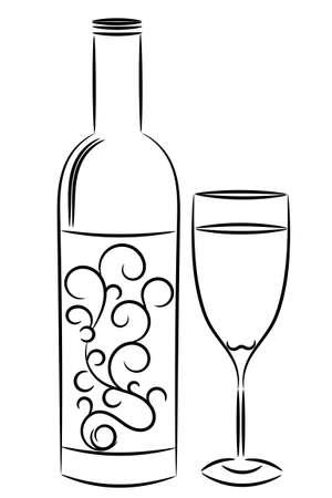 bouteille de vin: verre et bouteille de vin Illustration