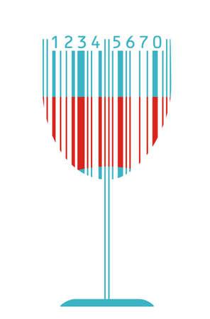 barcode: Glas wijn en barcode