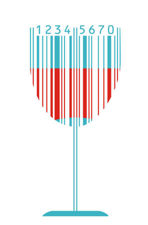 number code: Wine glass and barcode