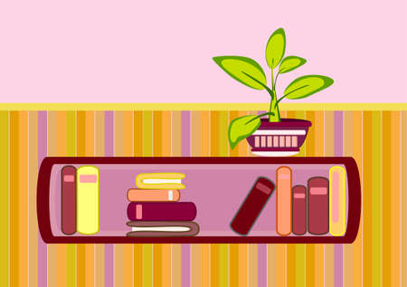 bookshelf and flower Vector