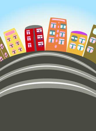 cartoon urban scene Stock Vector - 9695739