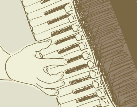 hands on keyboard: accordion sketch